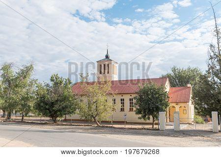 OKAHANDJA NAMIBIA - JUNE 19 2017: The Friedenskirche (Church of Peace) of the German Evangelical Lutheran Church in Okahandja in the Otjozondjupa Region of Namibia