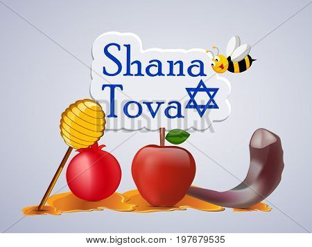 illustration of bee, honey, apple, pomegranate with shana tova text on the occasion of Jewish New Year Shanah Tovah
