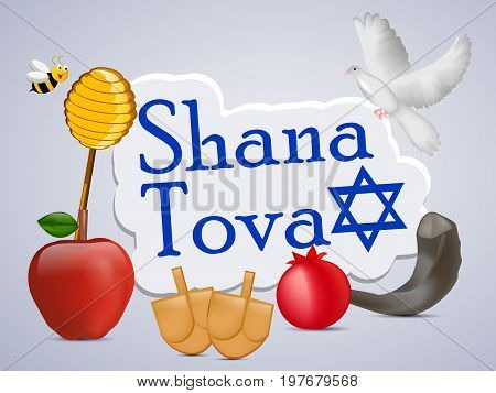 illustration of bee, pigeon, honey, apple, pomegranate with shana tova text on the occasion of Jewish New Year Shanah Tovah