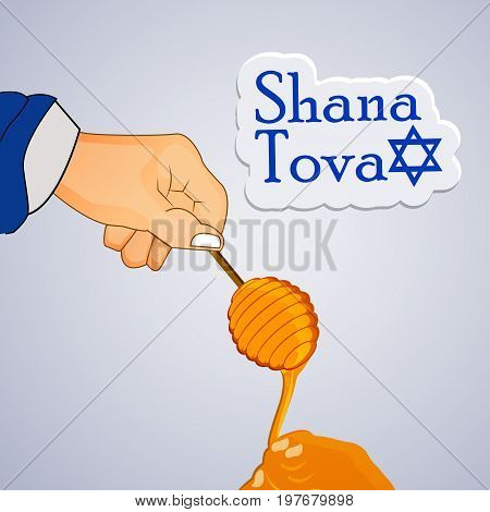 illustration of hand and honey with shana tova text on the occasion of Jewish New Year Shanah Tovah