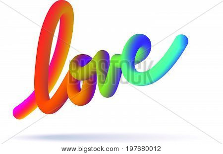 Vector illustration three-dimensional love sign with bright gradient colors