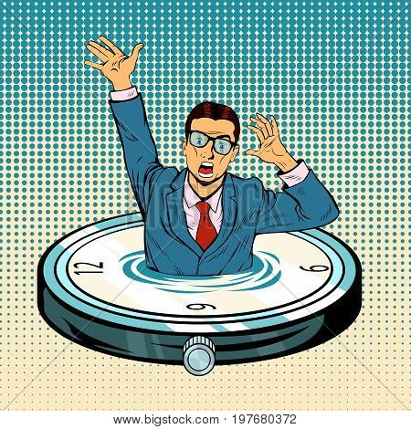 Businessman sinking in time. Business and work overtime excess. Free time lack. Vector clock element with water lake, desperate businessman drowning in time ocean. Pop art retro vector illustration.