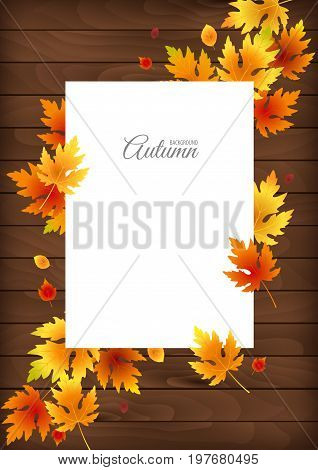 Falling leaves vector background. Autumn illustration with white sheet and lettering. Space for text.