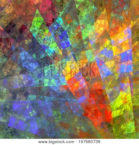 Bright fractal mosaic design. Asymmetrical colorful stained-glass windows.