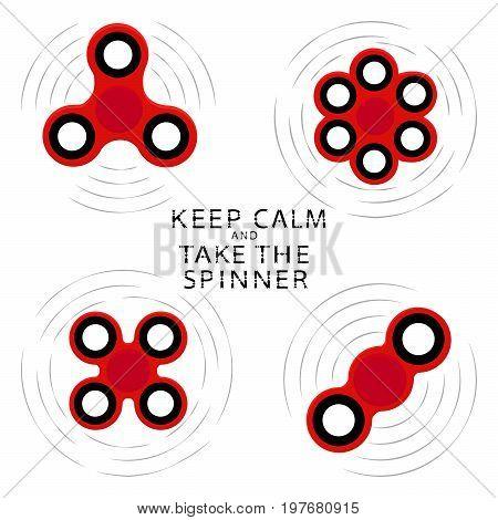 Abstract vector illustration logo for game hand spinner fidget, flying gyroscope.