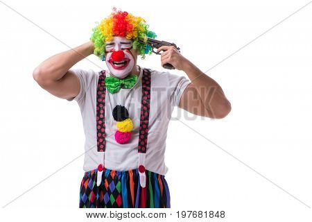 Funny clown with a gun pistol isolated on white background