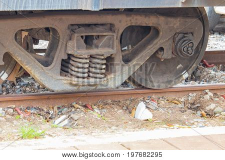 train wheel close up on railway track at station