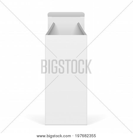 White Package Thin Box Opened. For Software, electronic device and other products. Vector illustration