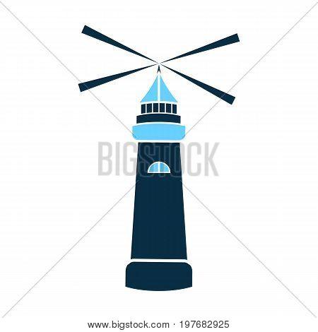 Sea lighthouse vector icon isolated. Marine navigation