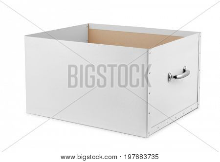 Open storage box isolated on white