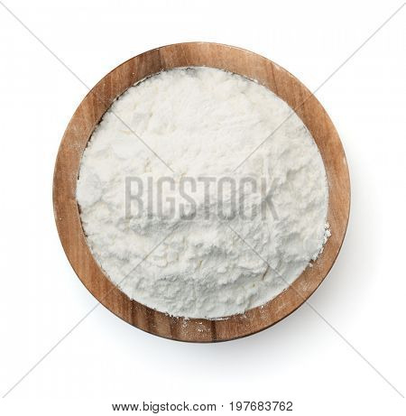 Top view of corn starch bowl isolated on white
