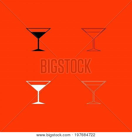 Martini Glass  Black And White Set Icon .