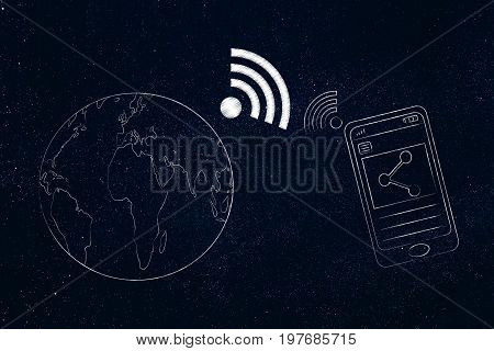 Smartphone Sharing Content Next To Planet Earth With Wi-fi Connection Symbol