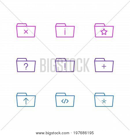 Editable Pack Of Script, Significant, Question And Other Elements.  Vector Illustration Of 9 Dossier Icons.