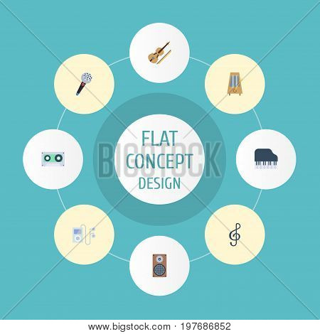 Flat Icons Rhythm Motion, Mp3 Player, Tape And Other Vector Elements