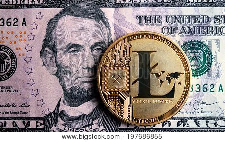 Litecoin On Five  Dollar Banknote.
