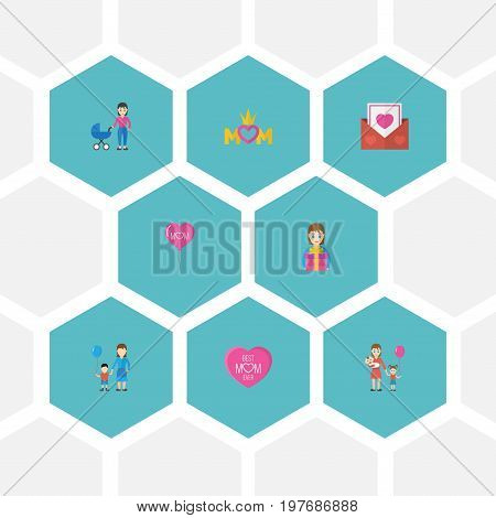 Happy Mother's Day Flat Icon Layout Design With Queen, Stroller And Decoration Symbols