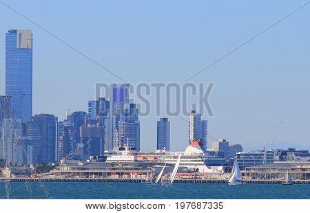 MELBOURNE AUSTRALIA - JULY 1, 2017: Melbourne harbour ferry terminal cityscape St Kilda Melbourne Australia
