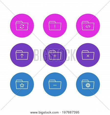 Editable Pack Of Plus, Recovery, Dossier And Other Elements.  Vector Illustration Of 9 Folder Icons.