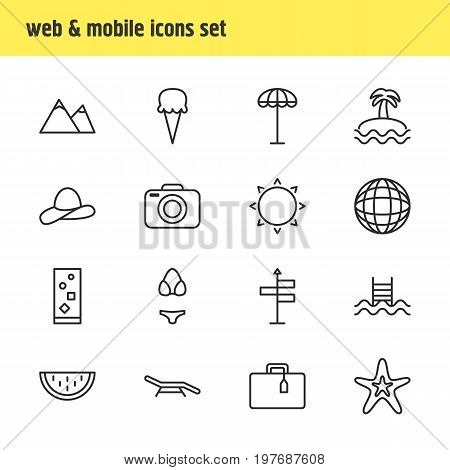 Editable Pack Of Fish, Cocktail, Cap And Other Elements.  Vector Illustration Of 16 Summer Icons.
