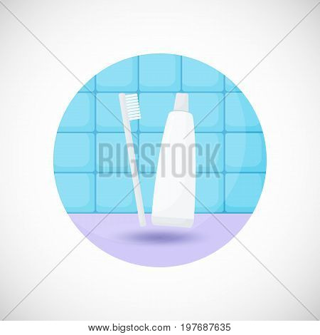 Toothbrush and paste vector flat icon Flat design of bathroom tooth care or oral medicine object in the bathroom interior vector illustration with shadows