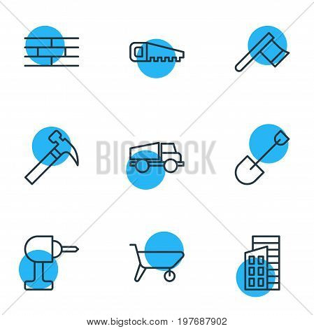 Editable Pack Of Handcart, Lorry, Handle Hit Elements.  Vector Illustration Of 9 Industry Icons.