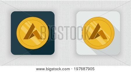 Light and dark crypto currency icon Ardor on a transparent background