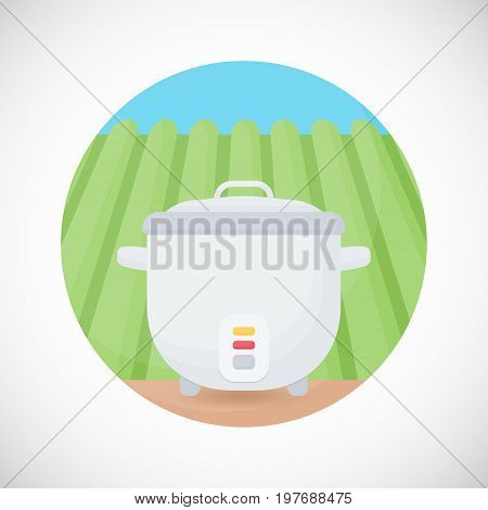 Rice cooker vector flat icon Flat design of cooking utensil electrical equipment kitchenware object on the rice plantation background vector illustration with shadows