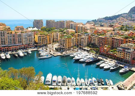 Fontvieille port in the principality of Monaco
