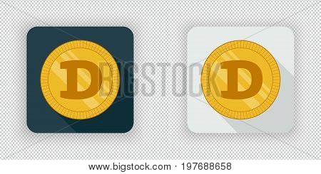 Light and dark crypto currency icon Dogecoin on a transparent background