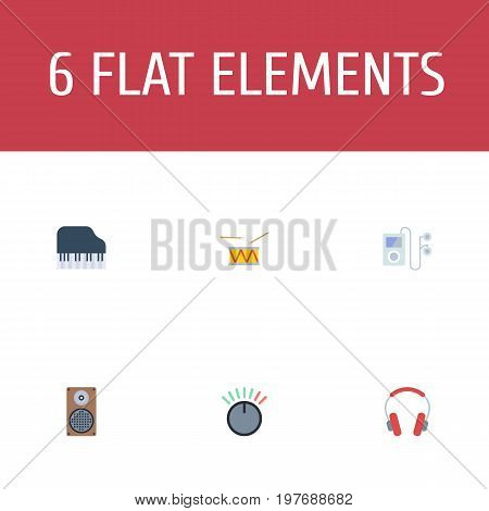 Flat Icons Mp3 Player, Knob, Audio Box And Other Vector Elements