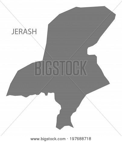 Jerash Jordan Governorate Map Grey Illustration Silhouette Shape