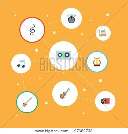 Flat Icons Musical Instrument, Acoustic, Banjo And Other Vector Elements