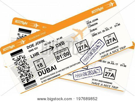 Design of aircraft boarding pass ticket in orange colors. Concept of business trip or vacation journey. Isolated vector illustration