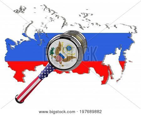 Map of Russia. United States sanctions against to Russia. Judge hammer United States of America flag and emblem. 3d illustration. Isolated on white background.