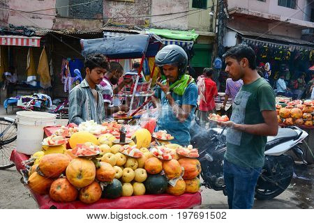 Selling Fresh Fruits At Street Market In India