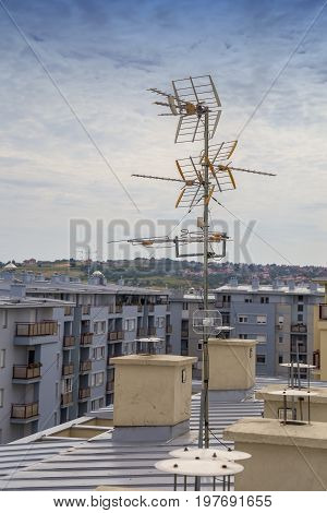 Television Antennas On Apartment Building