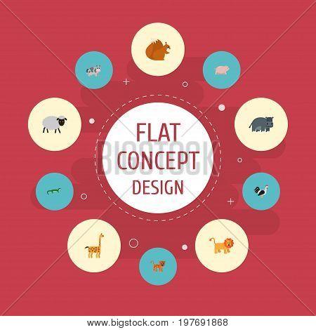 Flat Icons Hippopotamus, Kine, Swine And Other Vector Elements