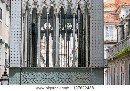 Details Of Carmo Lift In Lisbon