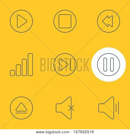 Editable Pack Of Pause, Audio, Start And Other Elements.  Vector Illustration Of 9 Melody Icons.