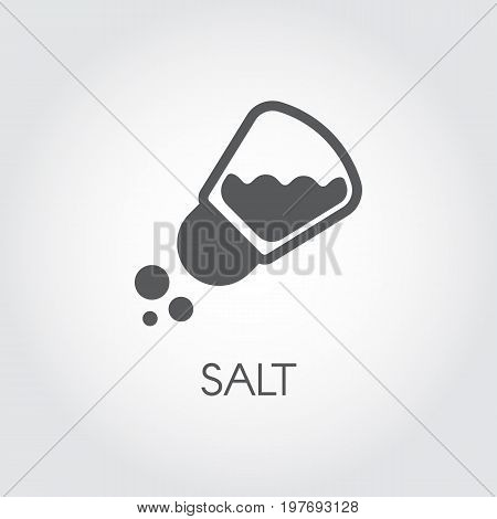 Salt shaker seasoning icon in flat design. Pictogram for food cooking theme. Simple emblem of spice. Vector illustration on a gray background