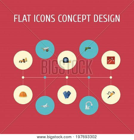 Flat Icons Pipeline Valve, Faucet, Handcart Vector Elements