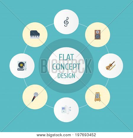 Flat Icons Mp3 Player, Quaver, Karaoke And Other Vector Elements