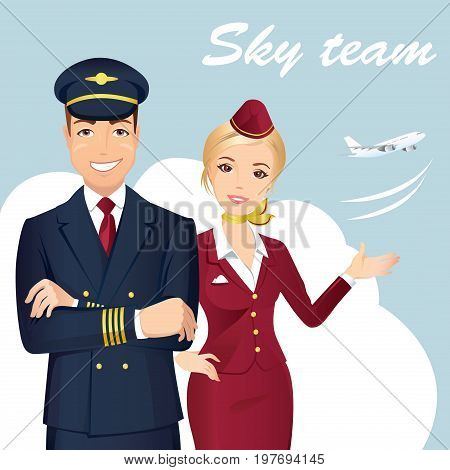 Pilot and Flight attendant of Commercial Airlines with the airplane on the background. Flat design, vector cartoon illustration.