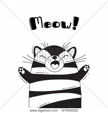 Illustration with joyful cat who shouts - Meow. For design of funny avatars, welcome posters and cards. Cute animal in vector.