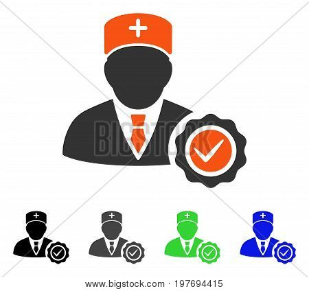Doctor Stamp Seal flat vector pictograph. Colored doctor stamp seal gray, black, blue, green icon variants. Flat icon style for web design.