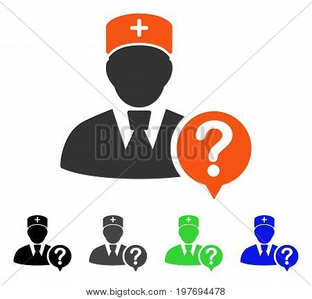Doctor Status flat vector icon. Colored doctor status gray, black, blue, green pictogram versions. Flat icon style for web design.