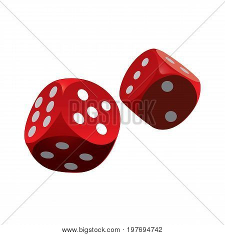 Red dice icon isolated on background. Red dice casino. Vector stock.