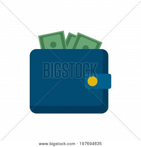 Wallet with money flat icon. Wallet icon isolated on background. Vector stock.