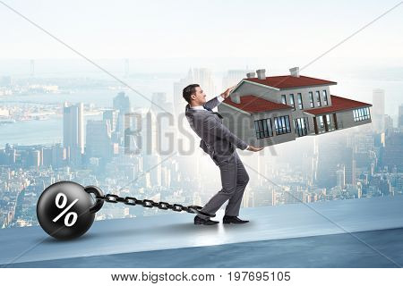 Businessman in mortgage debt financing concept